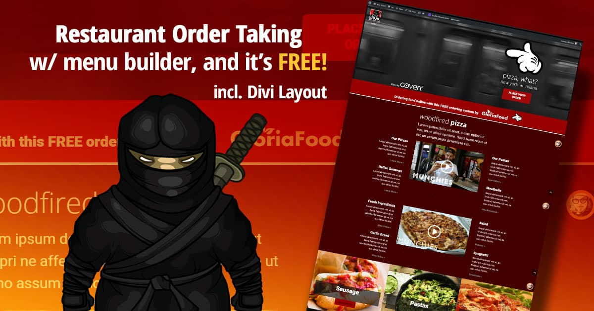 Restaurant order taking for your Divi site